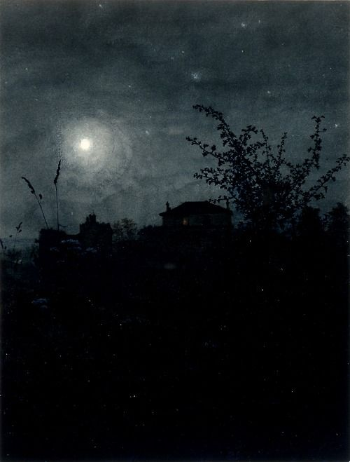 Moonlight Scene - Léon Bonvin • Note: Leon Bonvin, 1834-1866, was a largely self-taught French watercolorist whose work was distinctive in looking almost like a photograph. He went to Paris where his paintings were rejected for being too dark and not happy enough. The next day, Bonvin hung himself in the Meudon forest which had been the subject of many of his works.