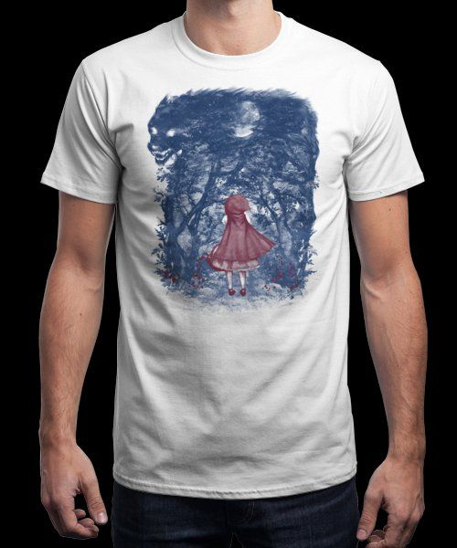 """""""The little girl and the Wolf"""" is today's £9/€11/$12 tee for 24 hours only on www.Qwertee.com Pin this for a chance to win a FREE TEE this weekend. Follow us on pinterest.com/qwertee for a second! Thanks:)"""
