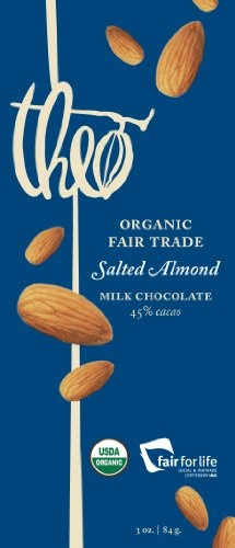 Theo Classics Milk Chocolate with Salted Almonds, 3-Ounce (Pack of 6)