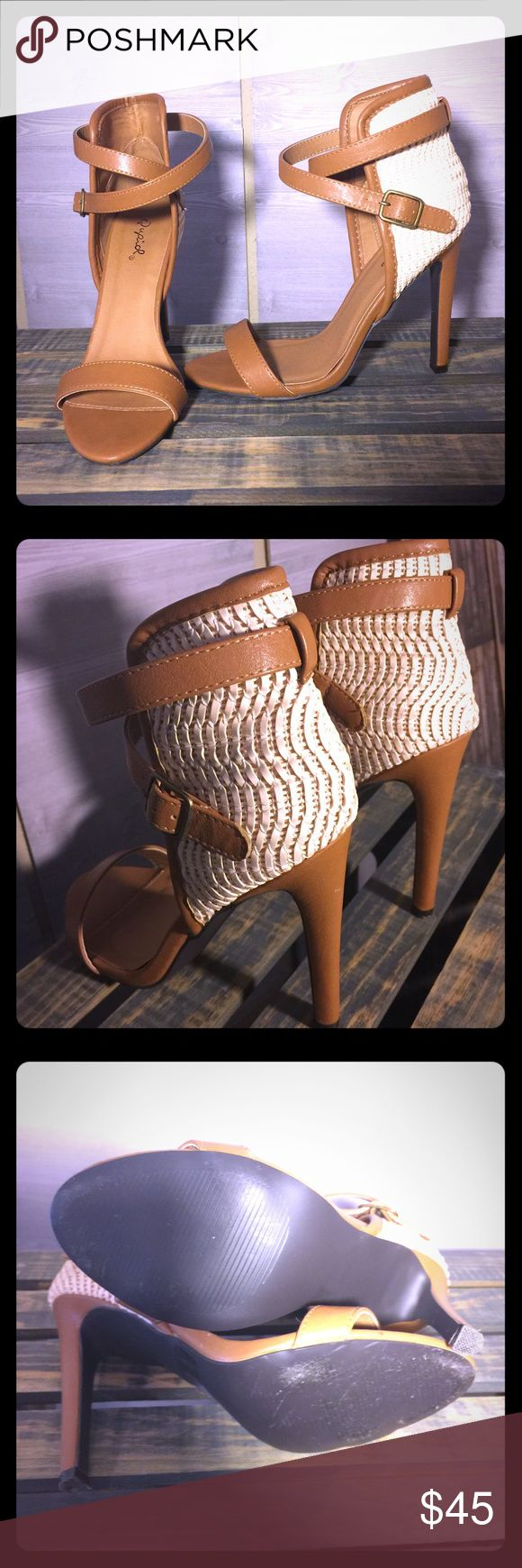 Qupid Heels Beautiful camel and cream 4.5 high heel sandal, used one time. Has a little mark on the back left heel, see photo #2. I will not accept low ball offers on this item.  Pair with a sun dress or a pair of boyfriend jeans! Qupid Shoes Heels