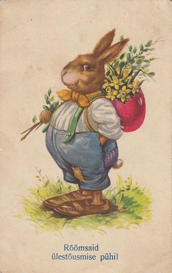 Пасхальные открытки с зайцами