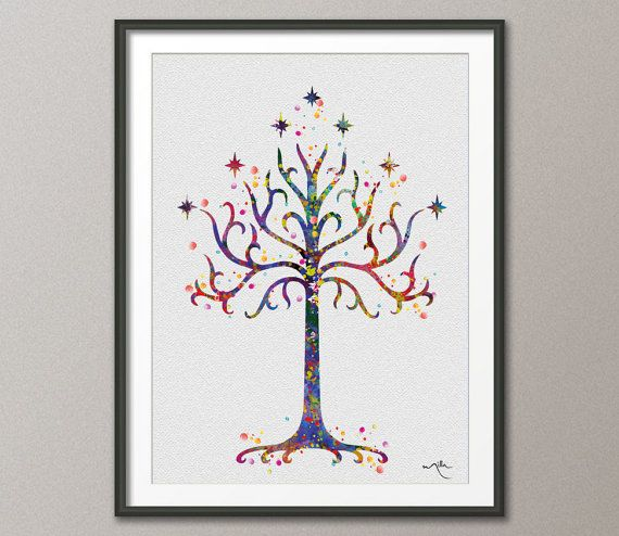 White Tree of Gondor 2 LOTR Watercolor Art Print Art by CocoMilla