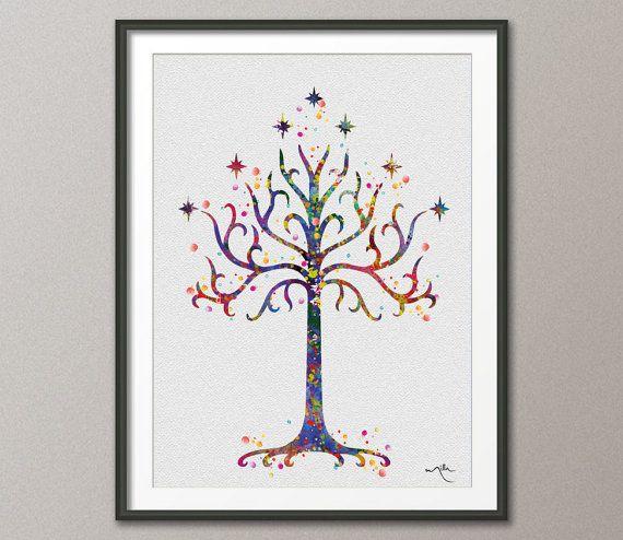 White Tree of Gondor 2 LOTR Watercolor Art Print Art by CocoMilla