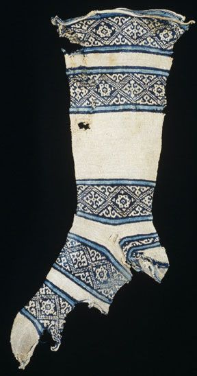 Sock  Possibly found in Fustat, Egypt  Islamic  12th century
