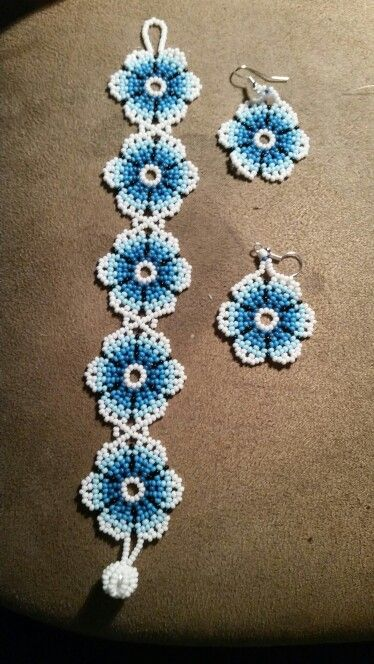 Huchiol bracelet and earring set.