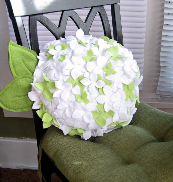 Fleece Hydrangea Flower Pillow in ANY COLOR Perfect by Buffalovely, $32.00