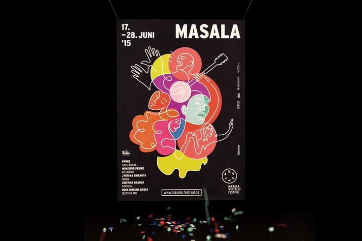 Poster designed by Hardy Seiler for German multi-cultural music festival Masala