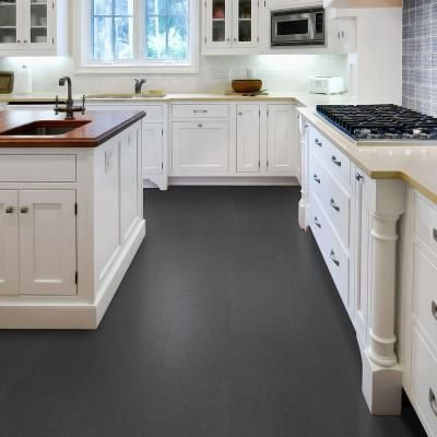 TrafficMASTER 12 in. x 23.82 in. Lineal Charcoal Resilient Vinyl Tile Flooring…