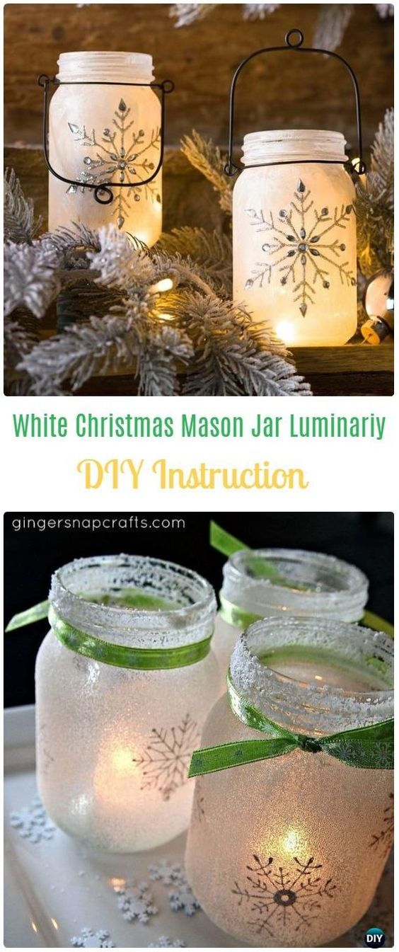 DIY White Christmas Mason Jar Luminaries Tutorial - Frosted Mason Jar Glass Container Craft Projects DIY Instructions