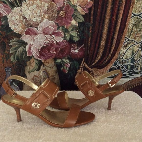 "💋💄💰SALE!! Camel Sandals💋💄💰 Beautiful camel sandals to dance away the night in. Excellent condition - worn twice. Heel height is 3"". Great for a romantic moonlit night! Tommy Hilfiger Shoes Sandals"