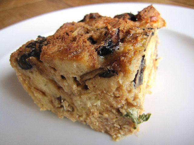 Roasted wild mushroom bread pudding slice by ErikaKerekes, via Flickr