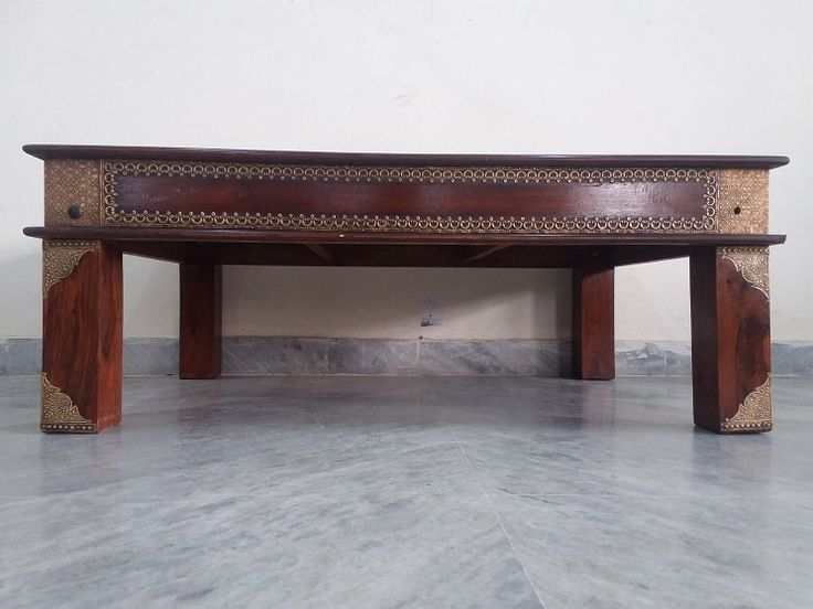 For Sale Sheesham Wood And Brass Fitted Center Table With Glass Top More Information Please