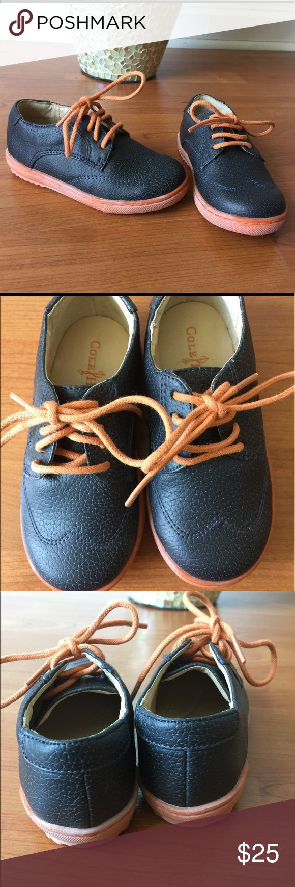 """New Cole Haan Navy Blue leather shoes New size 6. Cole Haan """"Anthony Jasper"""" shoe. Lace up Navy Blue Orange. Cole Haan Shoes Dress Shoes"""