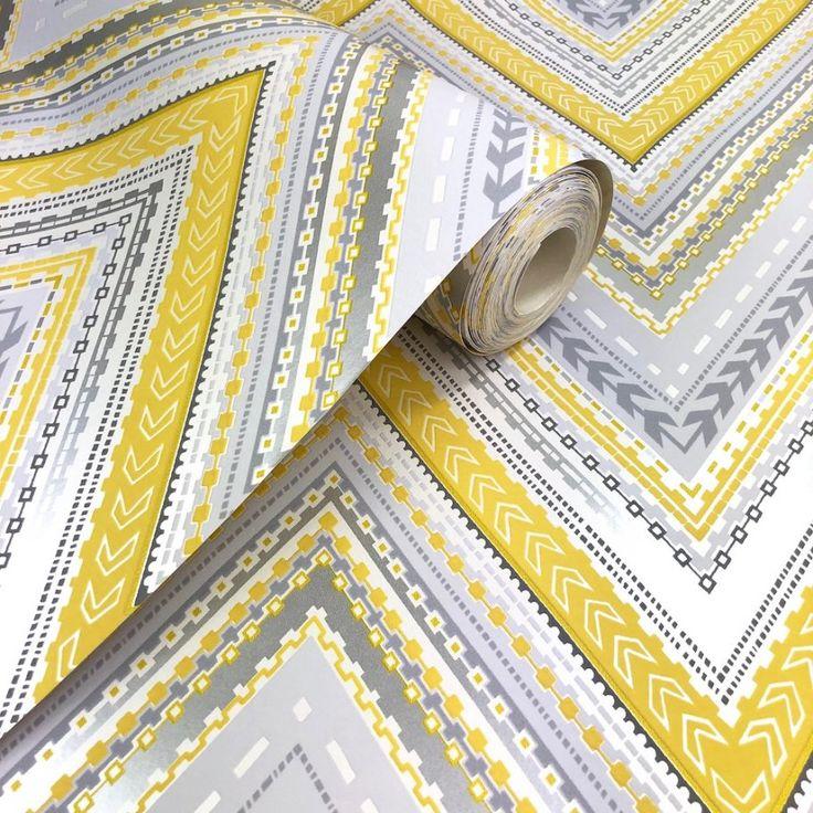 Grandeco Pandora chevron weave wallpaper in yellow and grey