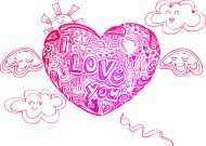 Flying hearts with doodles