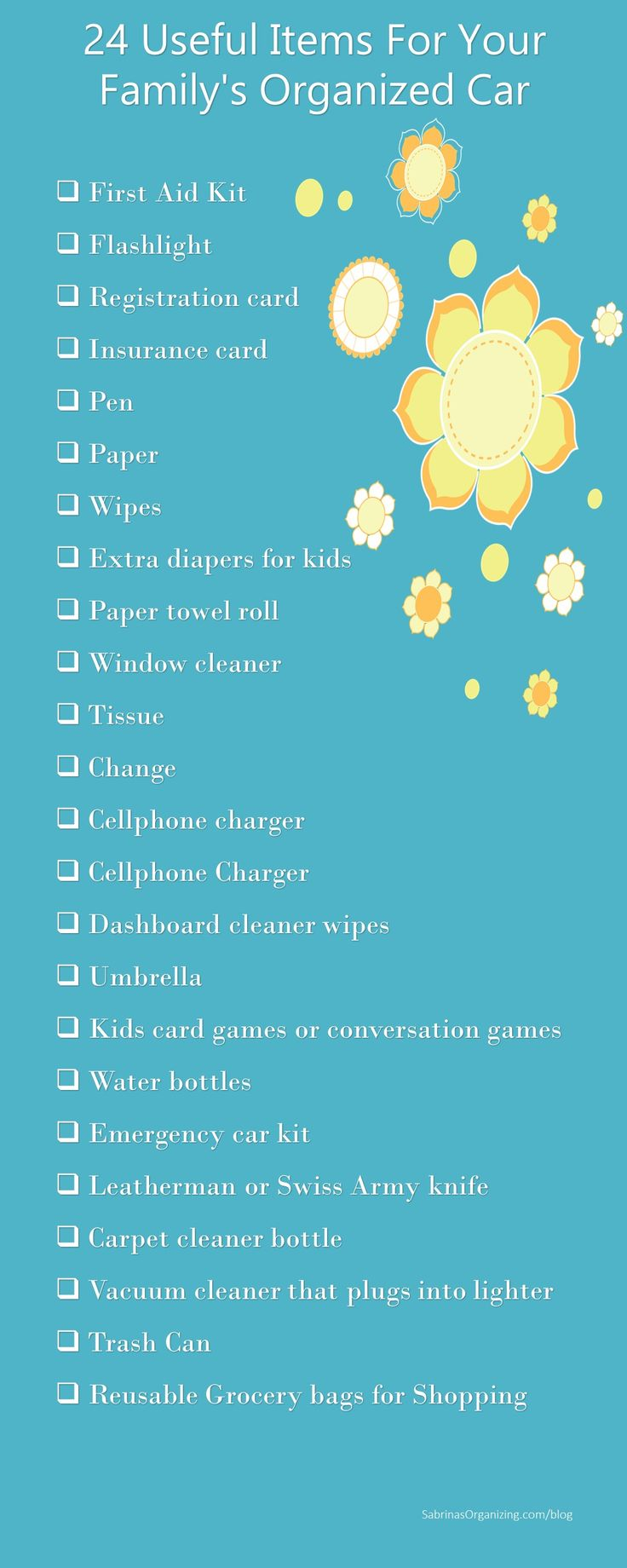 24 Useful Items For Your Family's Organized Car - family car or minivan organization to help keep your car super organized and clean.