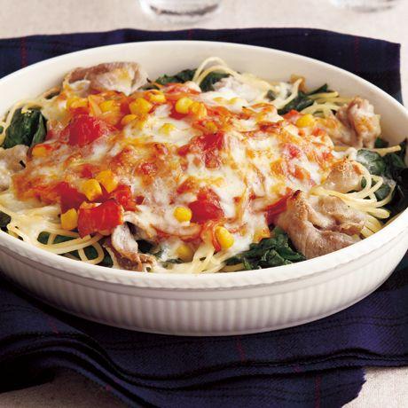 豚切り落とし肉 グラタン・ドリアのレシピ | 料理レシピ検索 | レタス ... 豚とほうれん草のスパゲッティグラタン