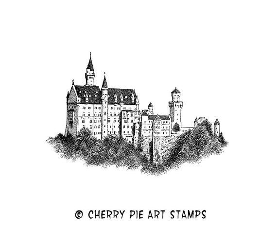 Castle Neuschwanstein Castle Bavaria Germany Cling Stamp Etsy In 2020 Neuschwanstein Castle Castle Silhouette Castle Sketch