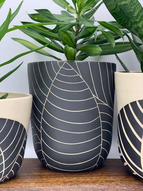 Made To Order All Black Leaf Carved Large Ceramic Planter Modern Wheel Thrown Pottery Planter Modern Ceramics Minimalist Pottery Large Ceramic Planters Ceramic Planters Pottery Planters