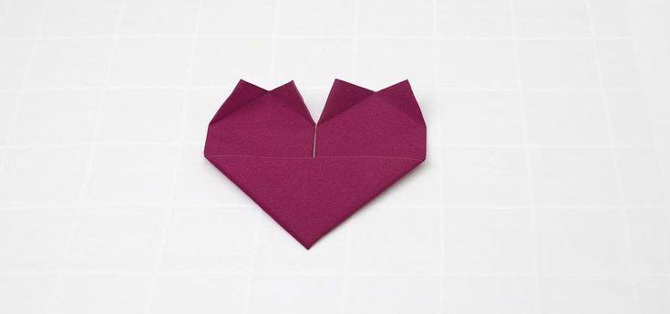 Serviette zum Herz falten Fu00fcr Valentinstag, zum Hochzeitstag oder zur Hochz…