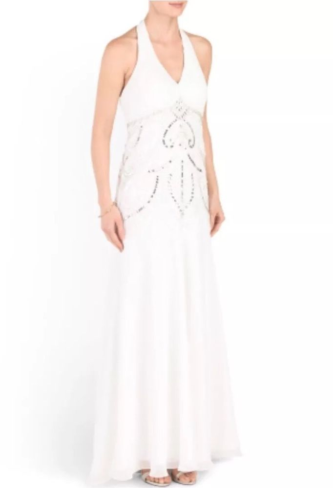 e0f7c8c62cc9 SUE WONG Beaded, Sequined Long Halter Bridal Wedding Gown Sz 2 $760 NWT  W5231 #Sheath