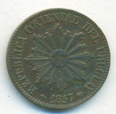 Уругвай монета 5 сентимос 1857 d медная KM#8 взгляд
