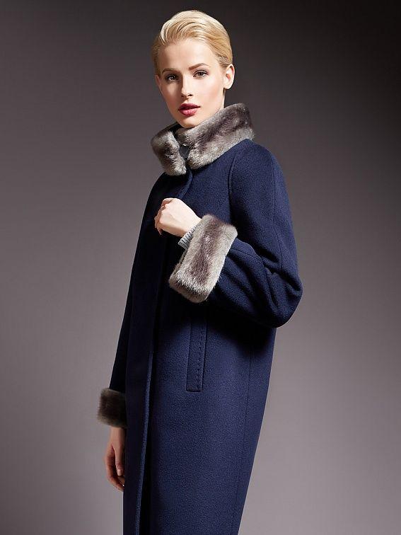 Пальто женское демисезонное цвет черно-синий, Пальтовая ткань, артикул 1016800p60268