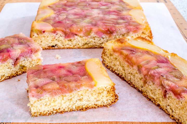 The recipe for gluten and dairy free rhubarb and pear tray bake is nearly identical to apple and rhubarb upside down slices published earlier. Two differences include the use of fresh rhubarb and p…