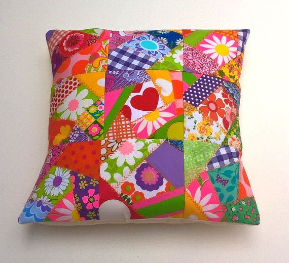 Bright Modern Vintage Crazy Patchwork Cushion by madebylisajane