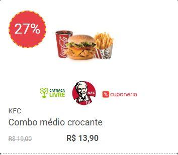 Cupons para o KFC dão desconto em balde de frango frito e combo