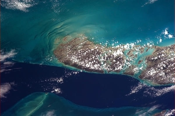 The deep waters of the 'Tongue of the Ocean' lick the reefs of Andros Island, the Bahamas.