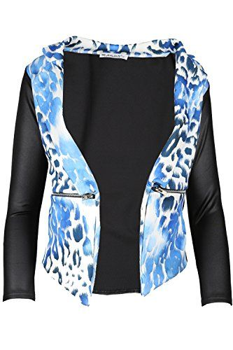 Damen Blazer Jacke Gesteppte PVC Ärmel Wasserfall Ausschnitt top Übergröße – 54, Leopard Blau   http://xxl.damenfashion.net/shop/damen-blazer-jacke-gesteppte-pvc-aermel-wasserfall-ausschnitt-top-uebergroesse-54-leopard-blau/