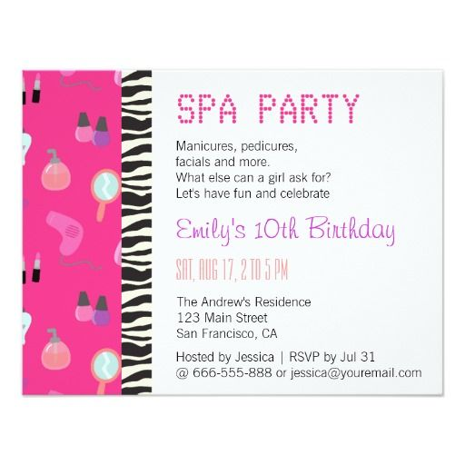 Invitation Cards For Ladies Party. Pampering Spa Party  For Girls Card 437 best Makeup Birthday party Invitations images on Pinterest