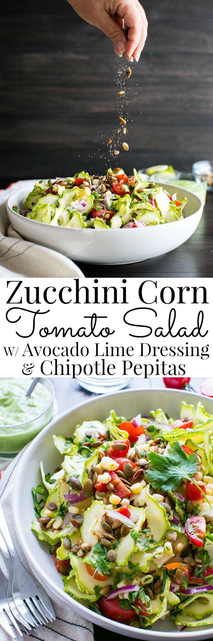 YUM!!! Zucchini Corn Tomato Salad with Avocado Lime Dressing & Chipotle Pepitas #healthy