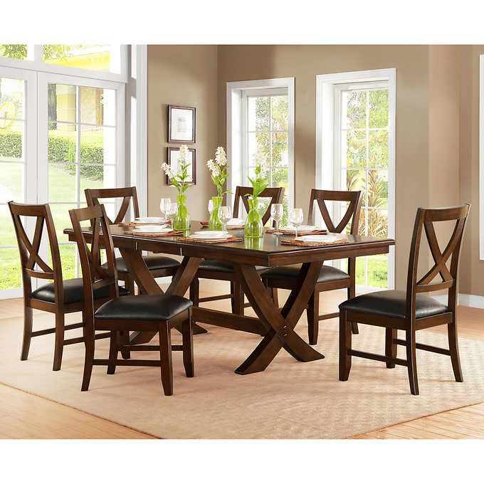 Valentia 7 Piece Dining Set Costco Bayside Furnishings Dining Table Chairs Dining Table