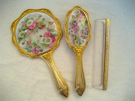 victorian style vanity set. Antique Victorian porcelain hand mirror brush comb vanity set  129 best Vanity Sets images on Pinterest