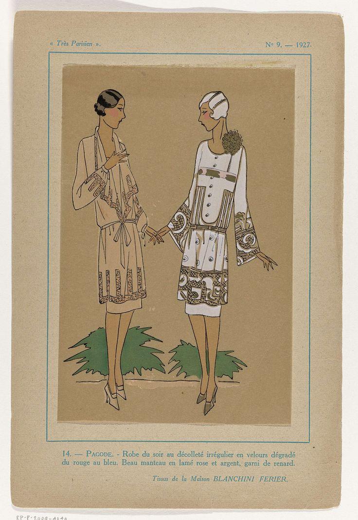 Anonymous | Très Parisien, 1927, No. 9 : 14.- PAGODE.- Robe du soir..., Anonymous, Bianchini-Férier, G-P. Joumard, 1927 | Volgens het onderschrift is dit een avondjurk van fluweel met een overloop(?) van rood naar blauw. 'Manteau' (jasjurk?) van roze- en zilverkleurige lamé, gegarneerd met vossenbont. Stoffen van Maison Blanchini  Ferier. Prent uit het modetijdschrift Très Parisien (1920-1936).