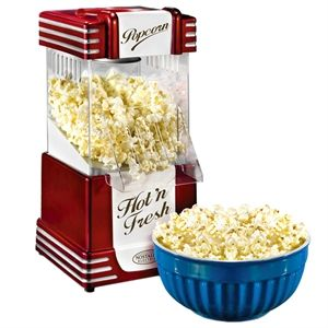 Nostalgia Electrics Hot Air Popcorn Maker  Retro popcorn maker uses hot air instead of oil to cook the popping corn! It measures around 19 cm x 28 cm x 40 cm and has a UK plug. Easy to use and clean it makes a great home gift for family  http://www.comparestoreprices.co.uk/gift-ideas/nostalgia-electrics-hot-air-popcorn-maker.asp #popcornmakers #popcorn #gadgets #kitchengadgets #makepopcorn #giftideas #christmas2014 #christmasgifts #giftforhim #giftsforman