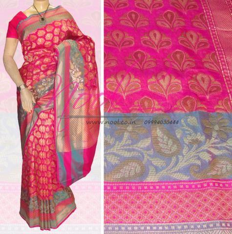 Nool Indian Pink Jamawar Silk Kanchipuram Silk Patola Silk Uppada Silk Saree Floral Jacquard Motifs Traditional Weaved VB.95.8.2           http://www.nool.co.in/product/sarees/nool-indian-pink-uppada-silk-buy-saris-online-wedding-festival-bridal-vb9582