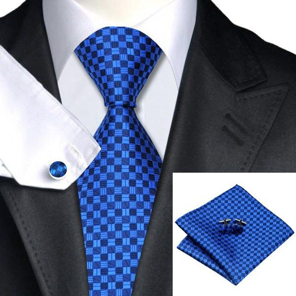 Tie, Pocket Square and Cufflinks Double Blue