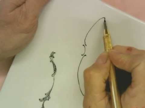 ▶ Instructional lesson on Porcelain painting linework and scrolls - YouTube