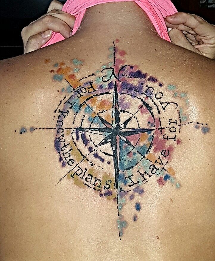 Watercolor compass tattoo change the quote and maybe add warrior in