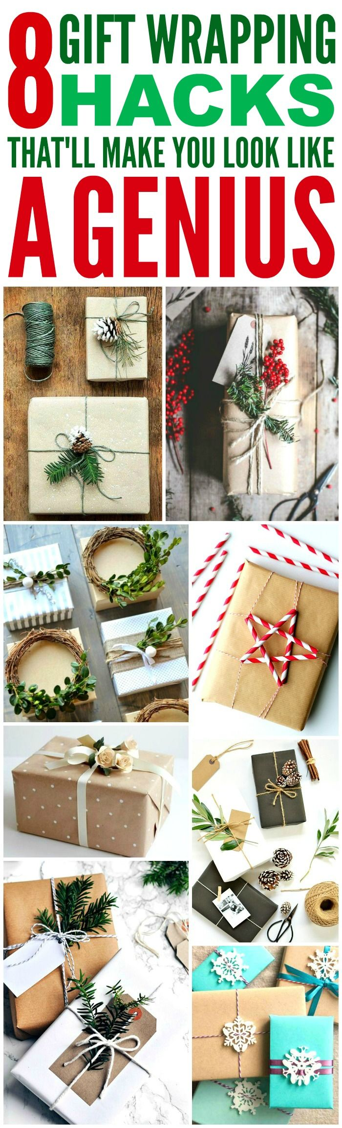 These 8 Creative Ways to wrap Christmas Presents are THE BEST! I'm so glad I found these GREAT tips! Now I can impress friends and family with my skill! Definitely pinning!