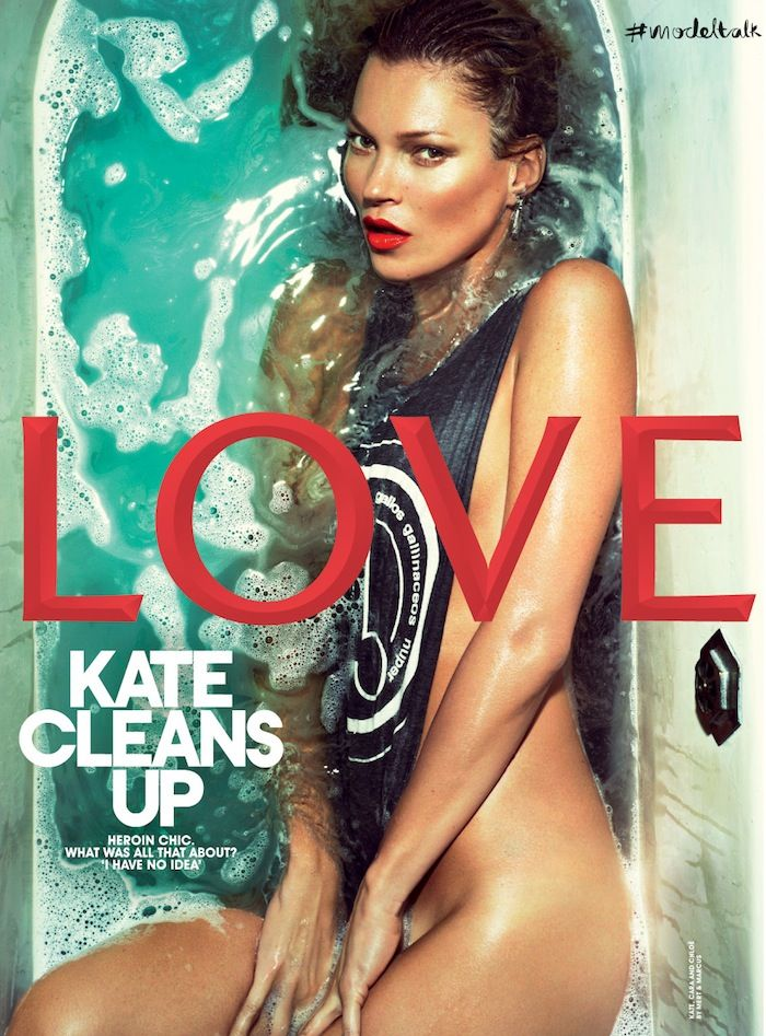 Kate Moss Covers LOVE Magazine's Spring 2013 Issue in the Bathtub
