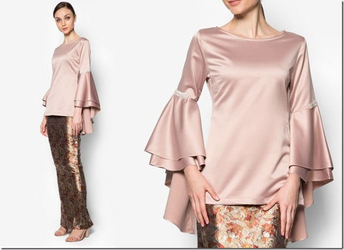 brocade-bell-sleeve-modern-kurung / 7 Modern Baju Kurung Ideas To Wear Come Eid 2016
