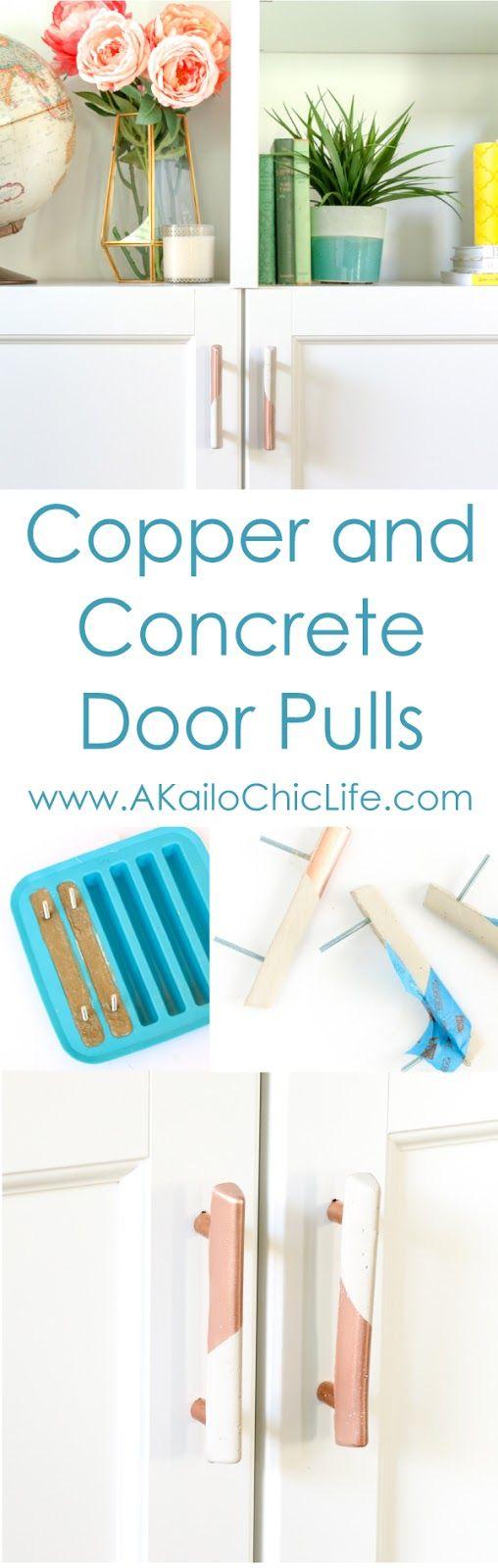 DIY It - Copper and Concrete Door Pulls - DIY project - industrial design - home decor - craft project - copper DIY