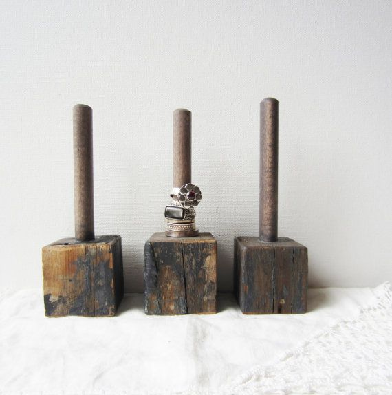 Ring Holder Display / Organizer - Architectural Salvage - Weathered Slate Blue - Retail Jewelry Display READY to SHIP