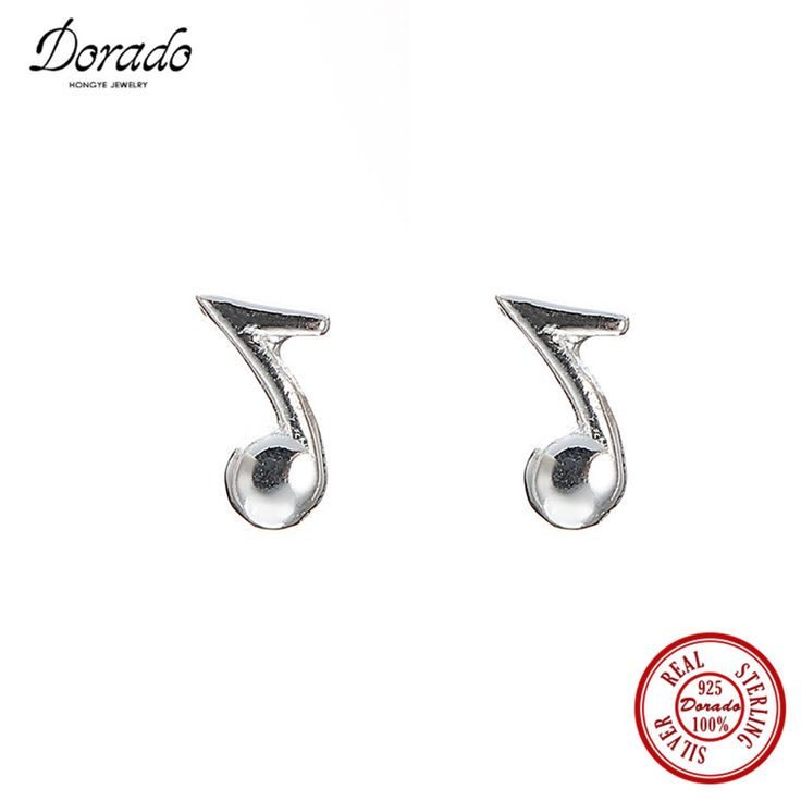 Dorado 100% Pure 925 Sterling Silver Simple Fashion Musical Note Rhythm Stud Earrings For Girls Top Quality Jewelry #Affiliate