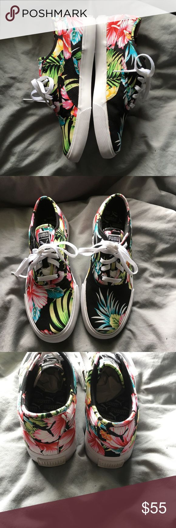 Puma floral shoes NWT puma floral shoes. Black with very colorful floral. Men's size 7 1/2. Euro 40. Women's 10 with box Puma Shoes Sneakers