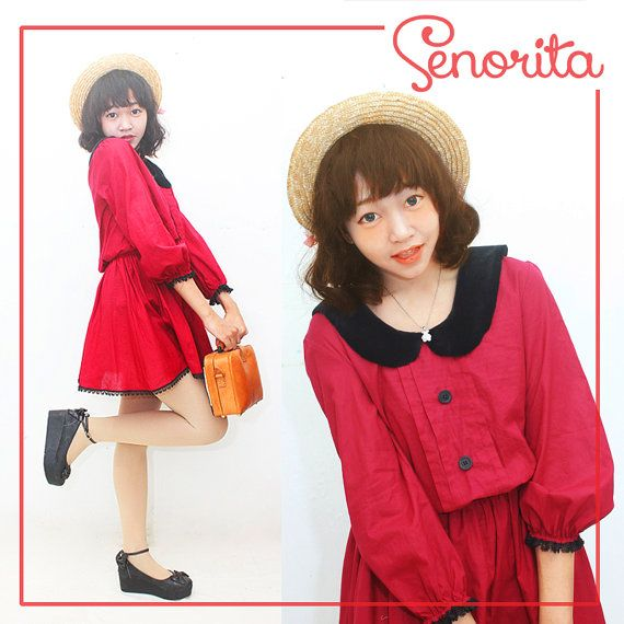 Handmade Red Summer Retro Casual Dress With by SenoritaHandmade, $69.00